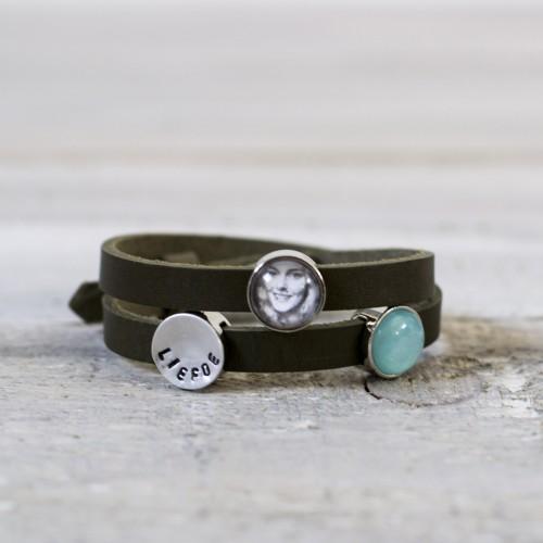 leren armband, groen