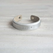 armband leer staal wit dames