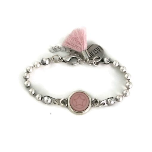 armband ball chain ster roze