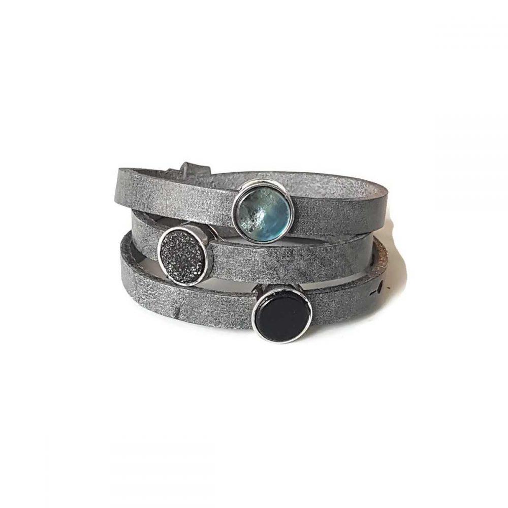 driedubbele wikkelarmband grijs