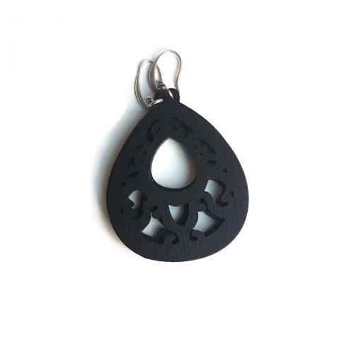 oorbellen hout middel zwart