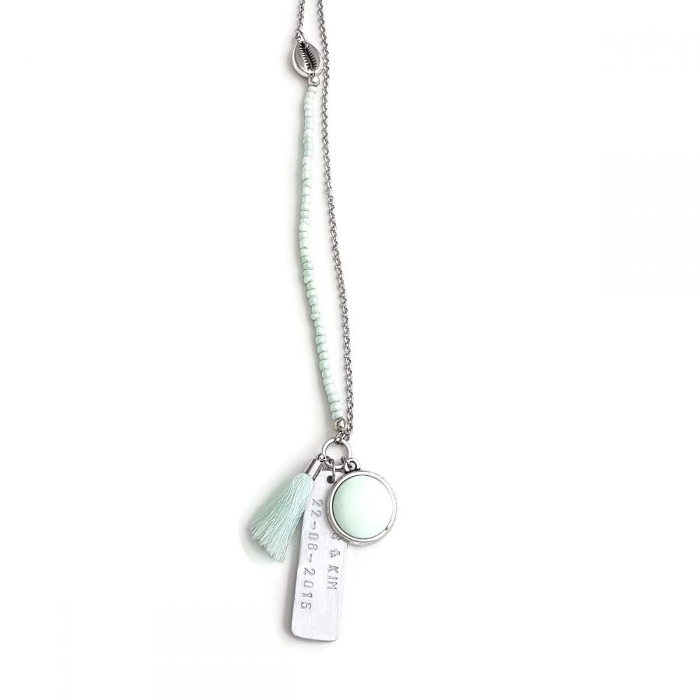 tekstketting beach memories mintgroen