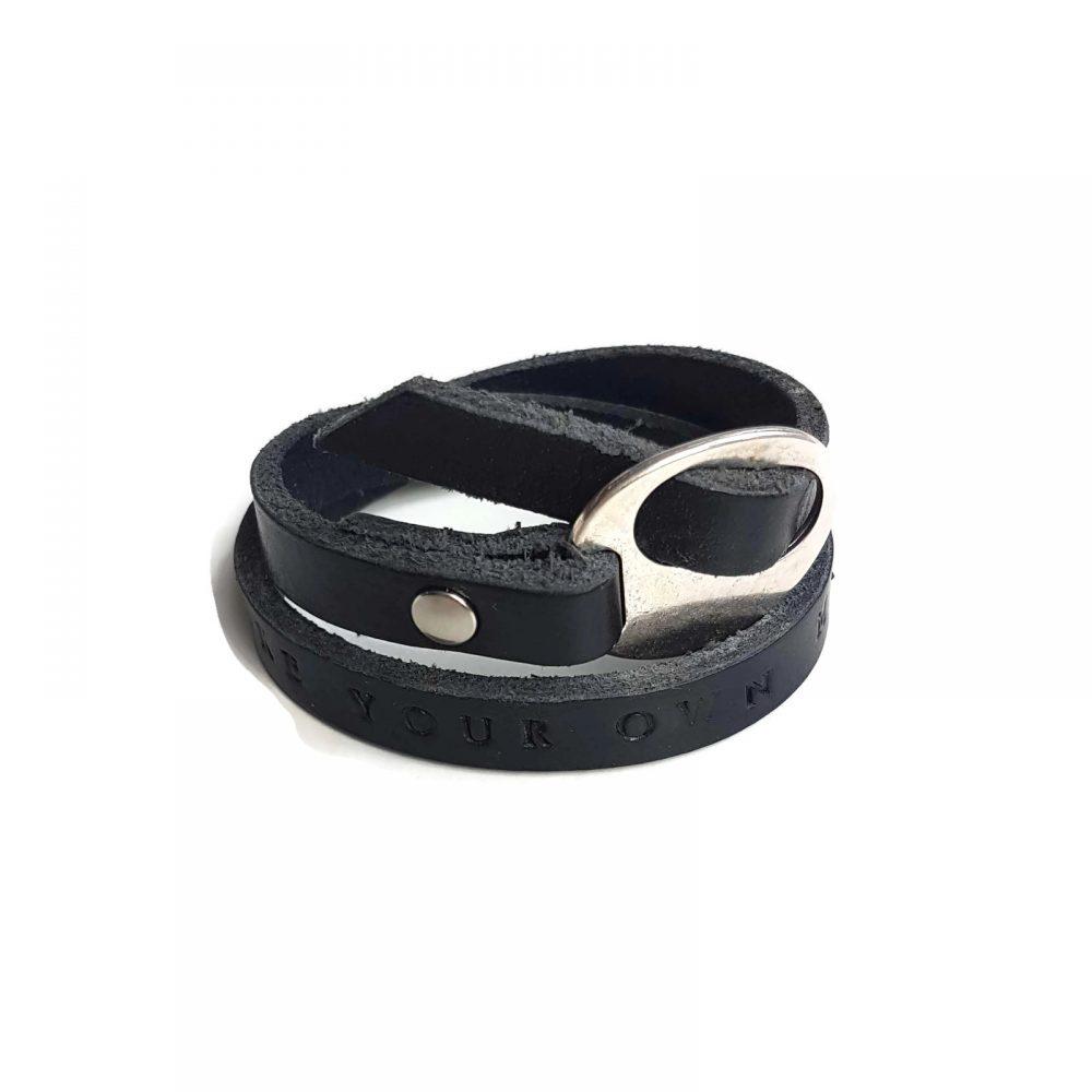tekstarmband wikkel zwart